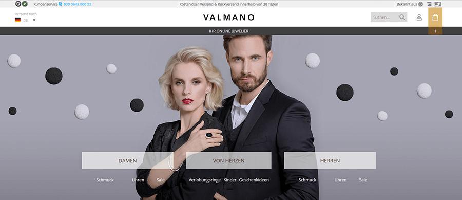 Screenshot der VALMANO Webseite