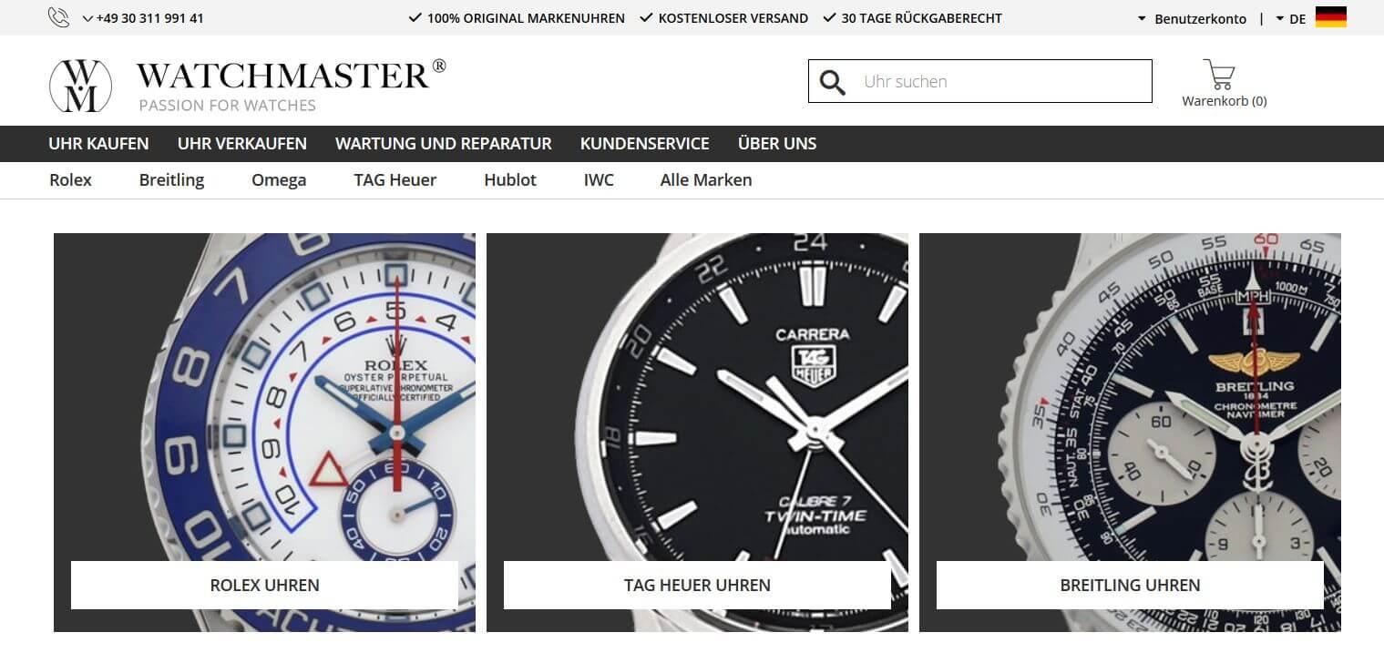 Screenshot des WATCHMASTER Online Shops